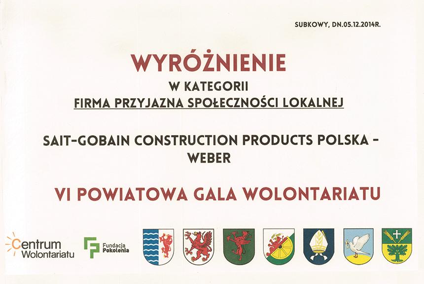 VIII Powiatowa Gala Wolonatariatu – wyróżnienie w kategorii Firma Przyjazna Społeczności Lokalnej